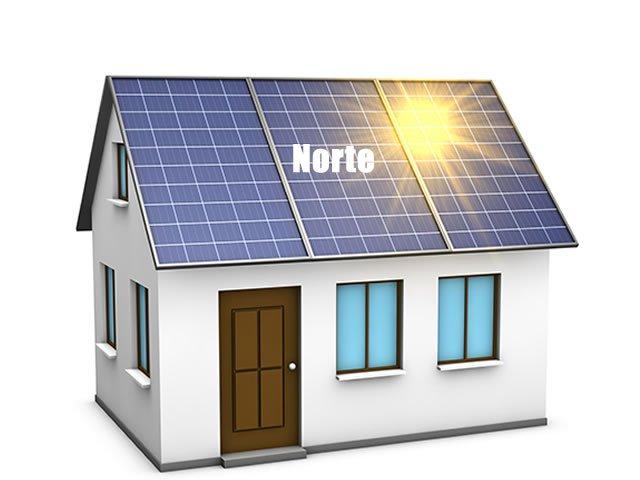 painel solar virado para o norte